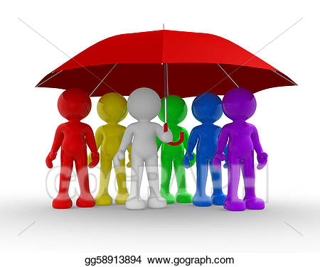 Clipart umbrella group. Stock illustrations gg