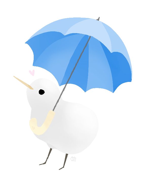 Clipart umbrella kawaii. Albino kiwi holding a