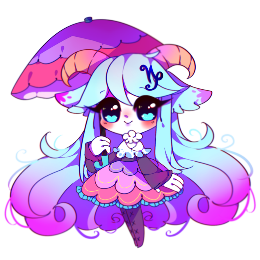 Clipart umbrella kawaii. Capricorn by cyiera on