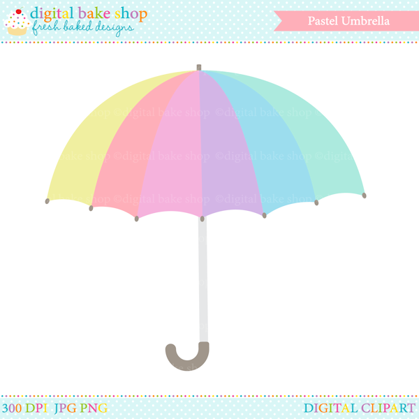 Clipart umbrella pastel. Digital clip art mygrafico