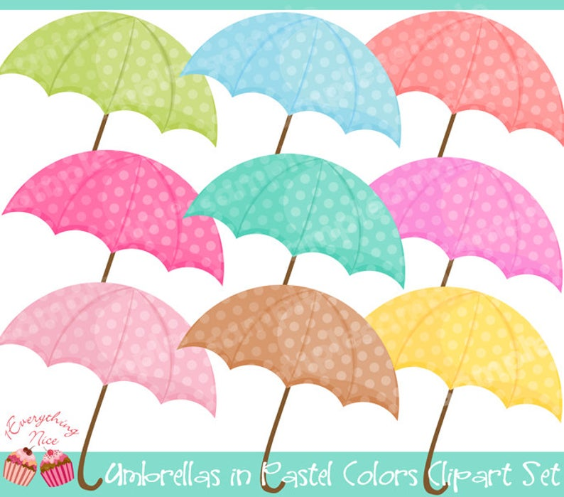 Clipart umbrella pastel. Umbrellas in colors set
