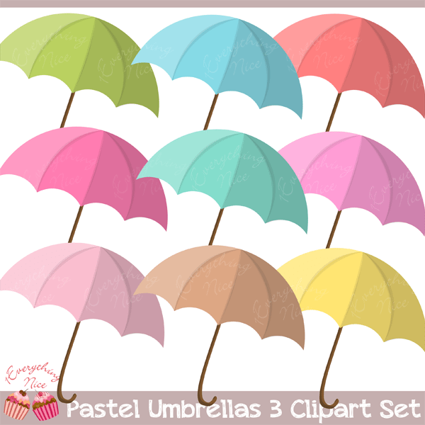Umbrellas set rainbow themes. Clipart umbrella pastel