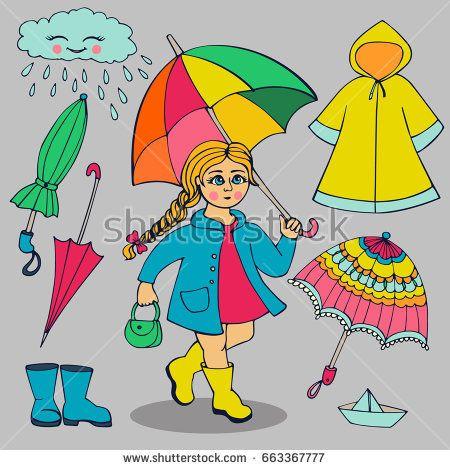Clipart umbrella rainy clothes. Set of and accessories