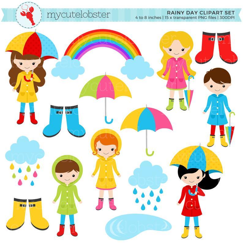 Clipart umbrella rainy clothes. Day character set clip