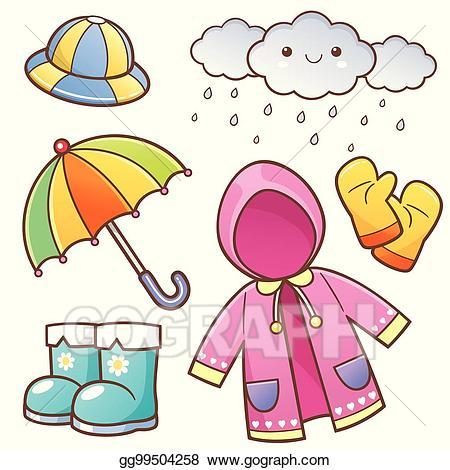 Eps vector rain stock. Clipart umbrella rainy clothes