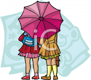 Clipart umbrella school. Picture of two schoolgirls