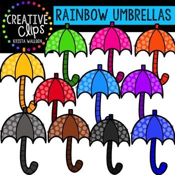 Clipart umbrella spring. Rainbow umbrellas creative clips