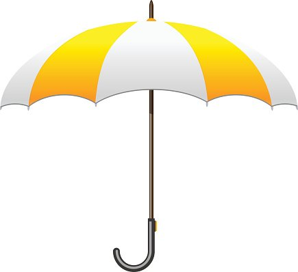 White and yellow protection. Clipart umbrella striped umbrella