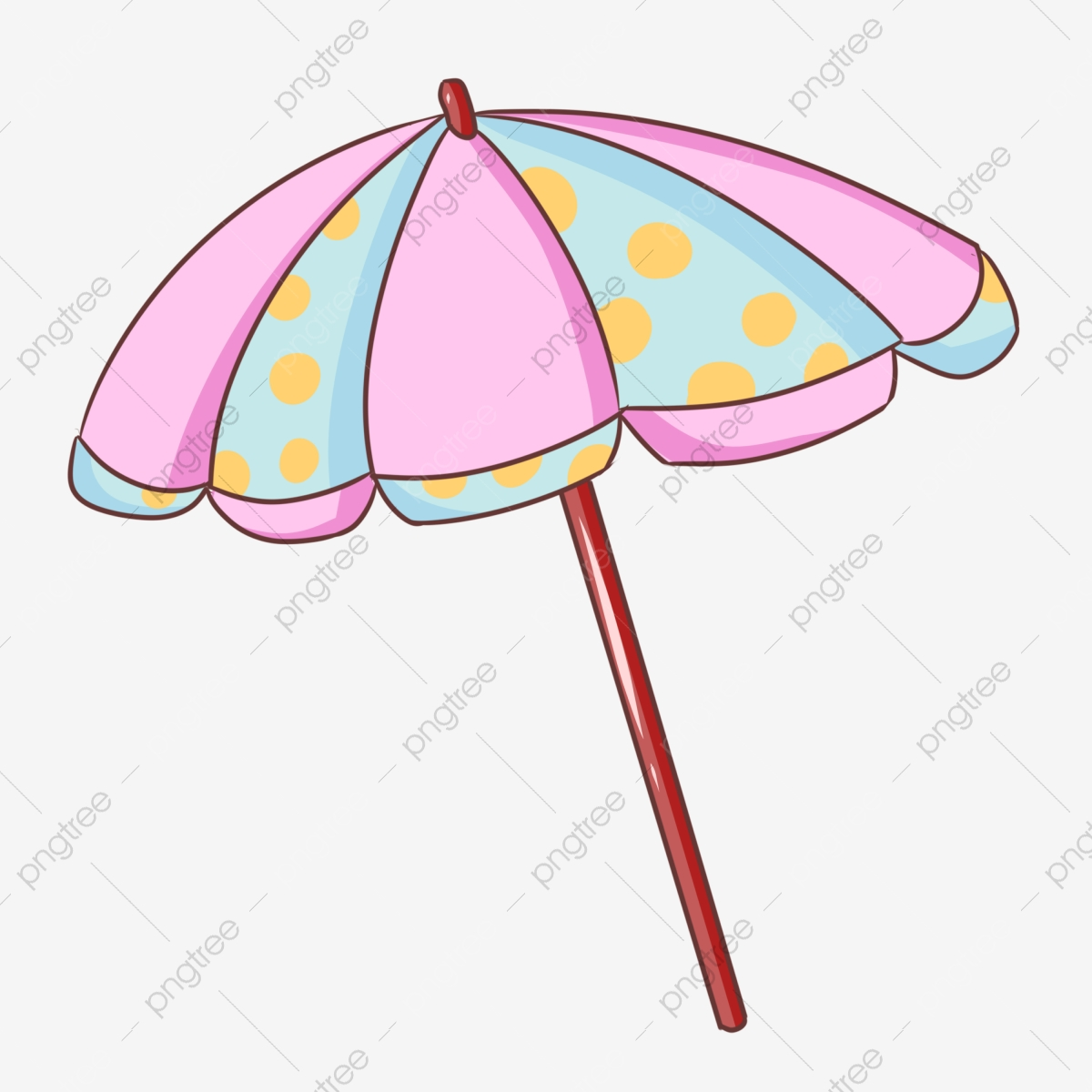 Cartoon sun yellow dots. Clipart umbrella striped umbrella