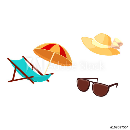 Vacation objects lounge chair. Clipart umbrella summer hat