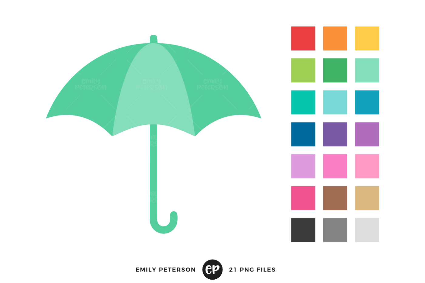 Clipart umbrella teal. By emily peterson studio