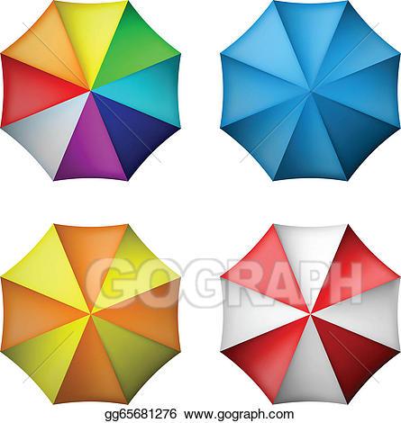 Clipart umbrella top. Vector illustration set from