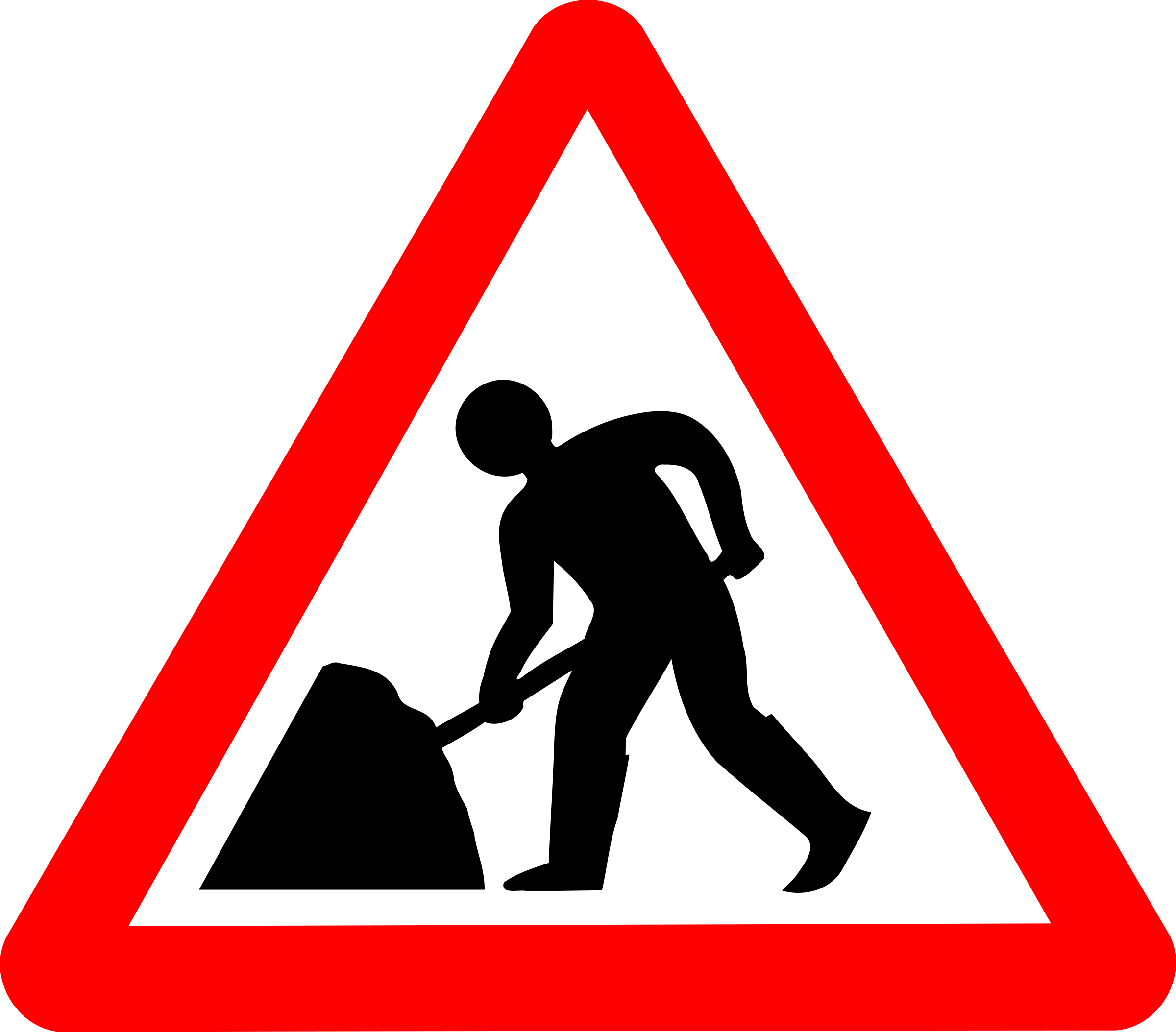 Roadsign man w big. Clipart umbrella triangular