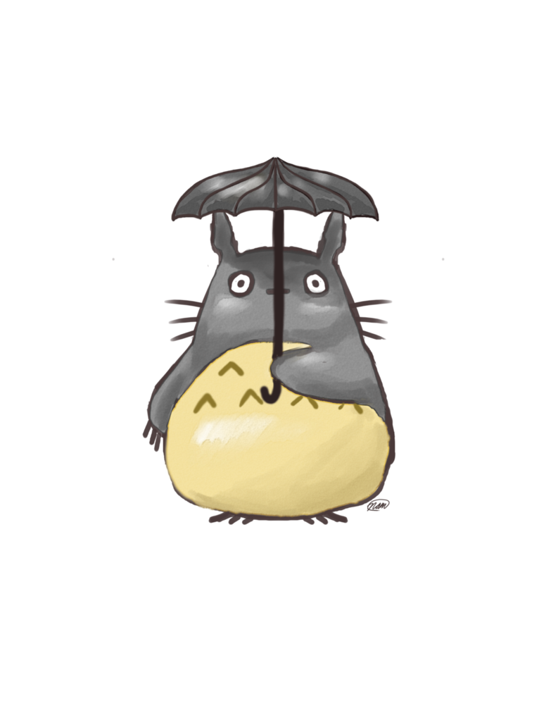 Clipart umbrella watercolor. Totoro under an by