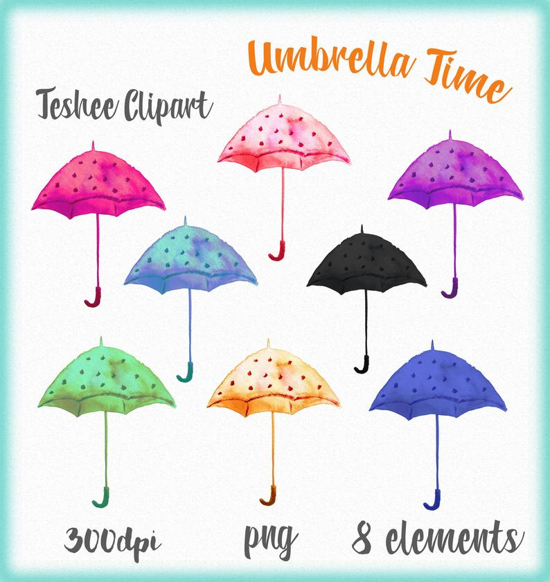 Clipart umbrella watercolor. Clip art hand painted