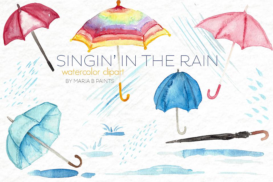 Rain . Clipart umbrella watercolor