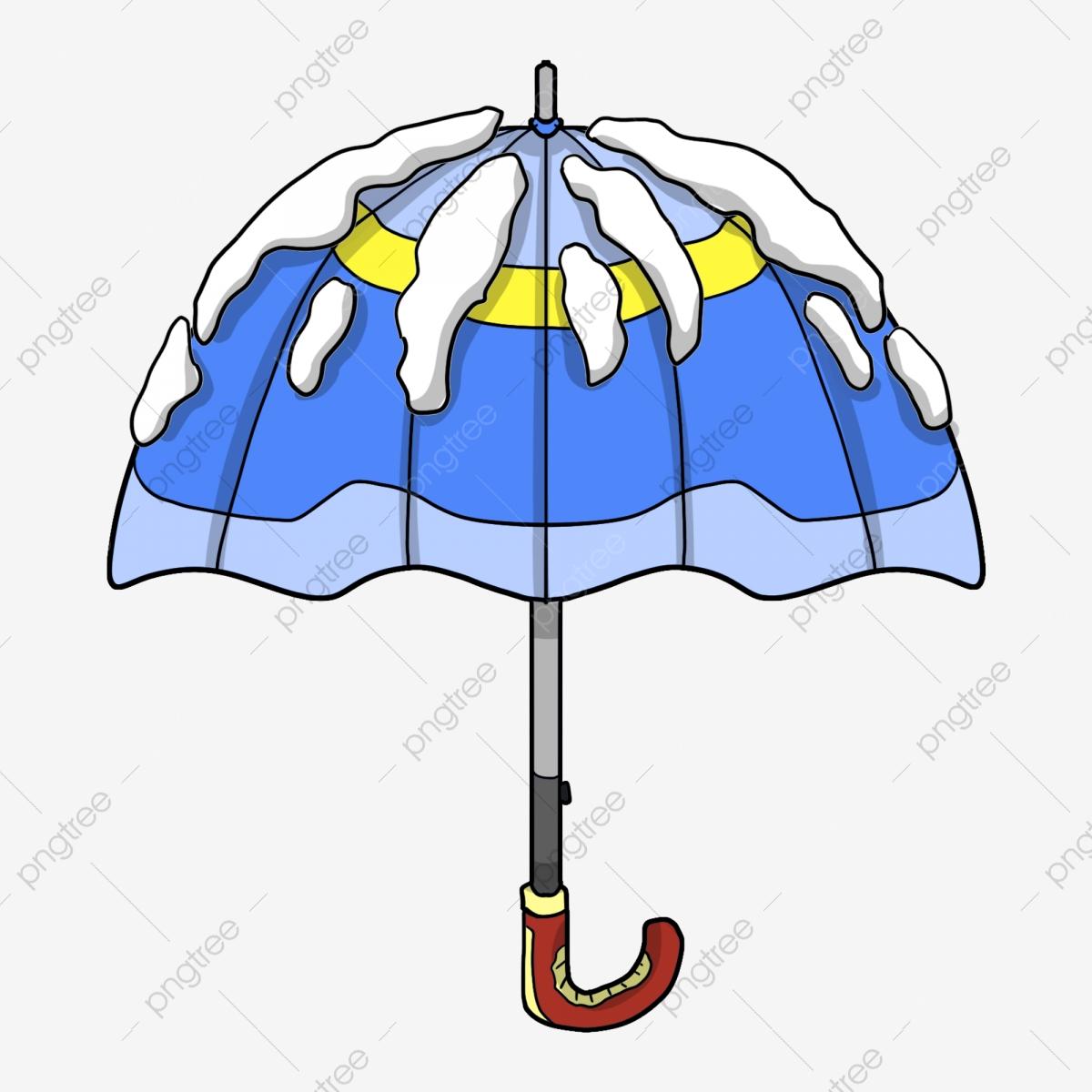 Blue beautiful hand drawn. Clipart umbrella winter