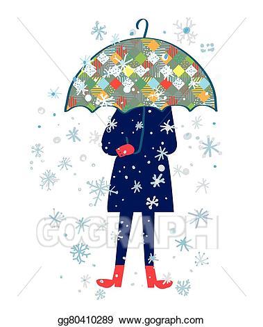 Eps vector storm illustration. Clipart umbrella winter