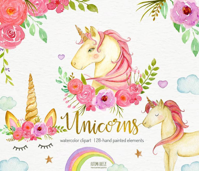 Clipart unicorn beautiful unicorn. Watercolor unicorns clip art
