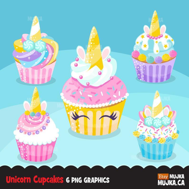 Rainbow cupcakes baking cake. Clipart unicorn cupcake