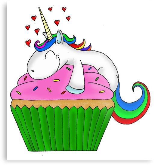 Clipart unicorn cupcake.  metal print by