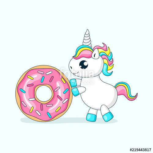 Donut clipart unicorn. Cute baby playing with