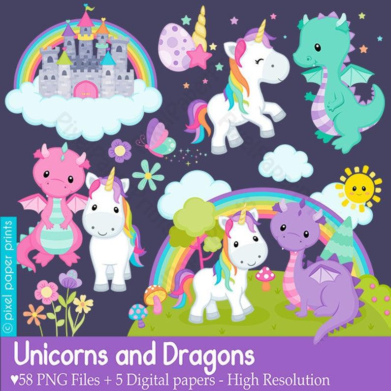 Unicorns and dragons rainbow. Dragon clipart unicorn