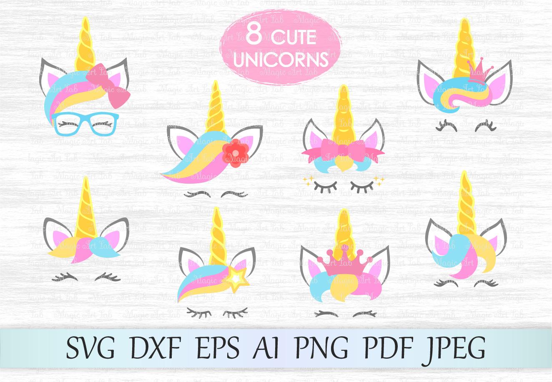 Kit svg head face. Clipart unicorn file