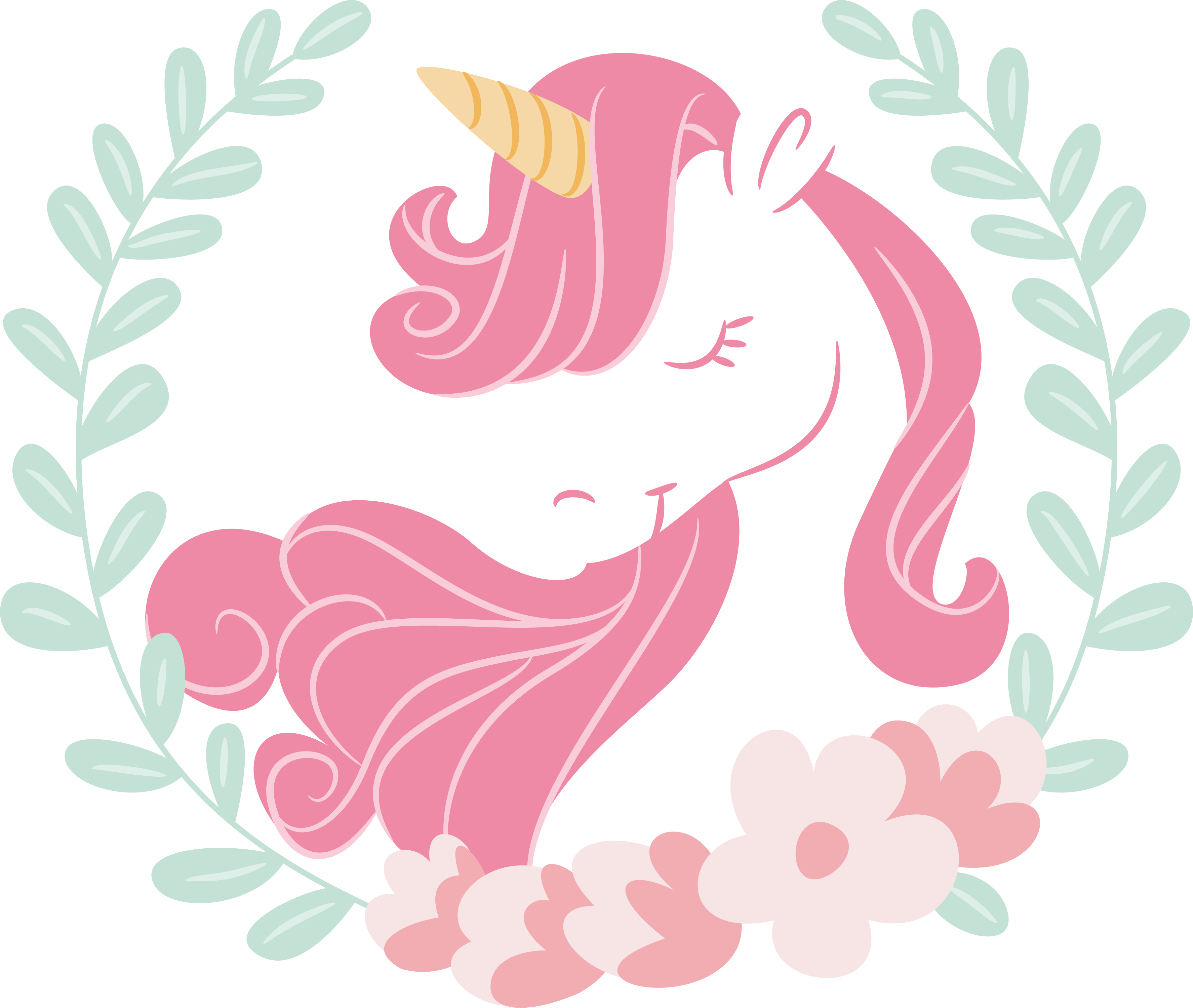 Paper drawing pink hair. Clipart unicorn flower