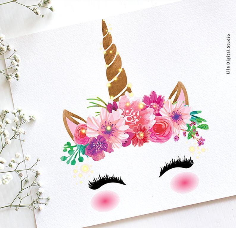 Clipart unicorn flower. Faces pastel glitter gold