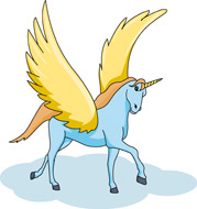 Fantasy views and mews. Clipart unicorn flying