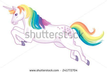 A cartoon with rainbow. Clipart unicorn flying