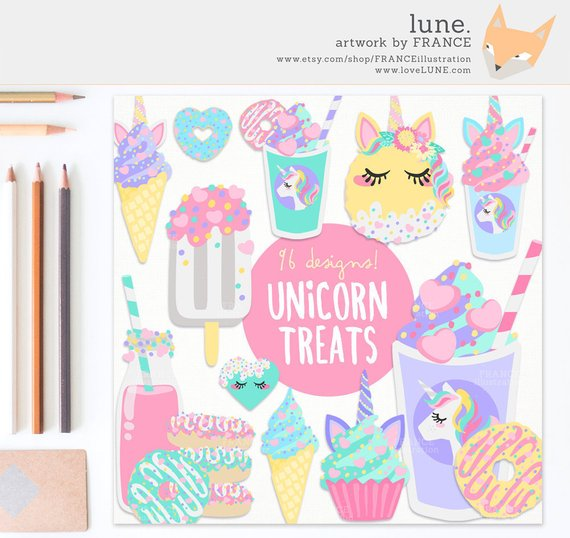for aesthetic cute. Clipart unicorn food