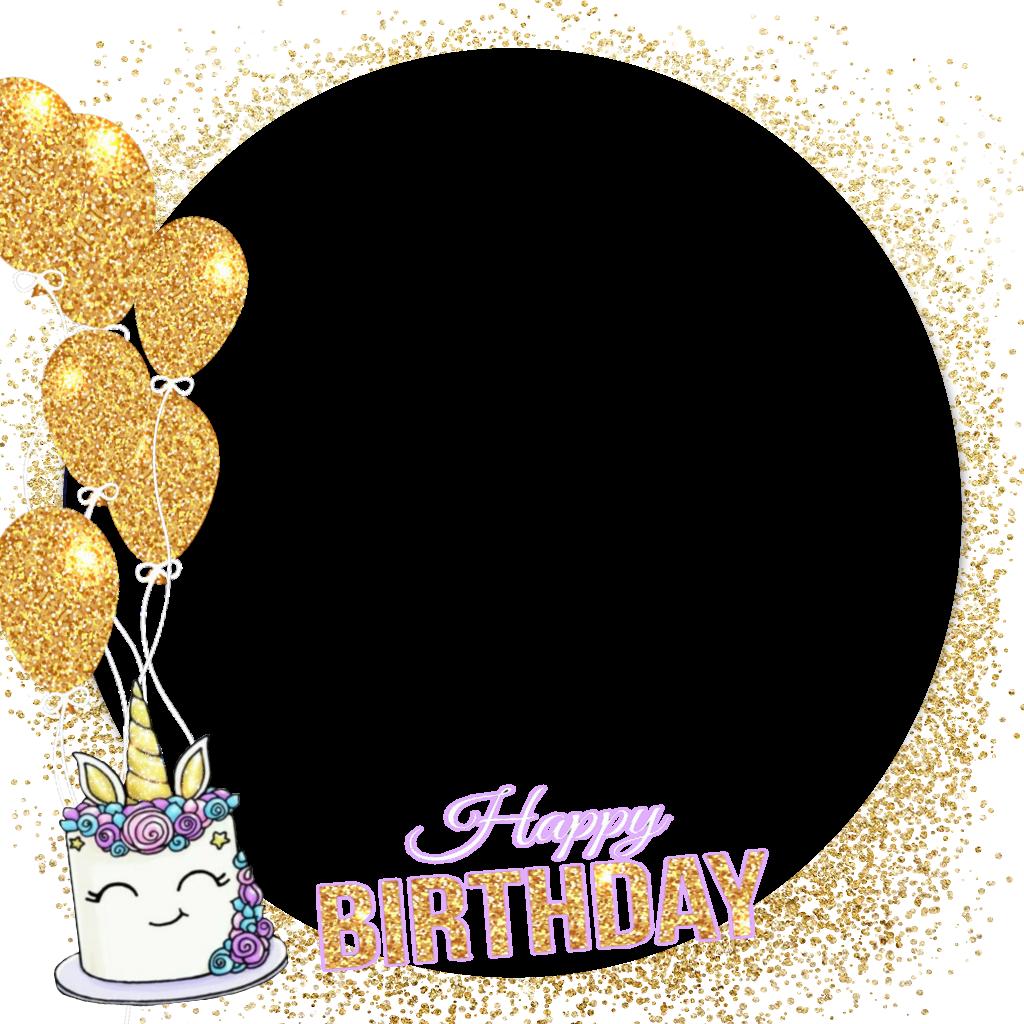 Happybirthday unicornio cake balloons. Frame clipart unicorn