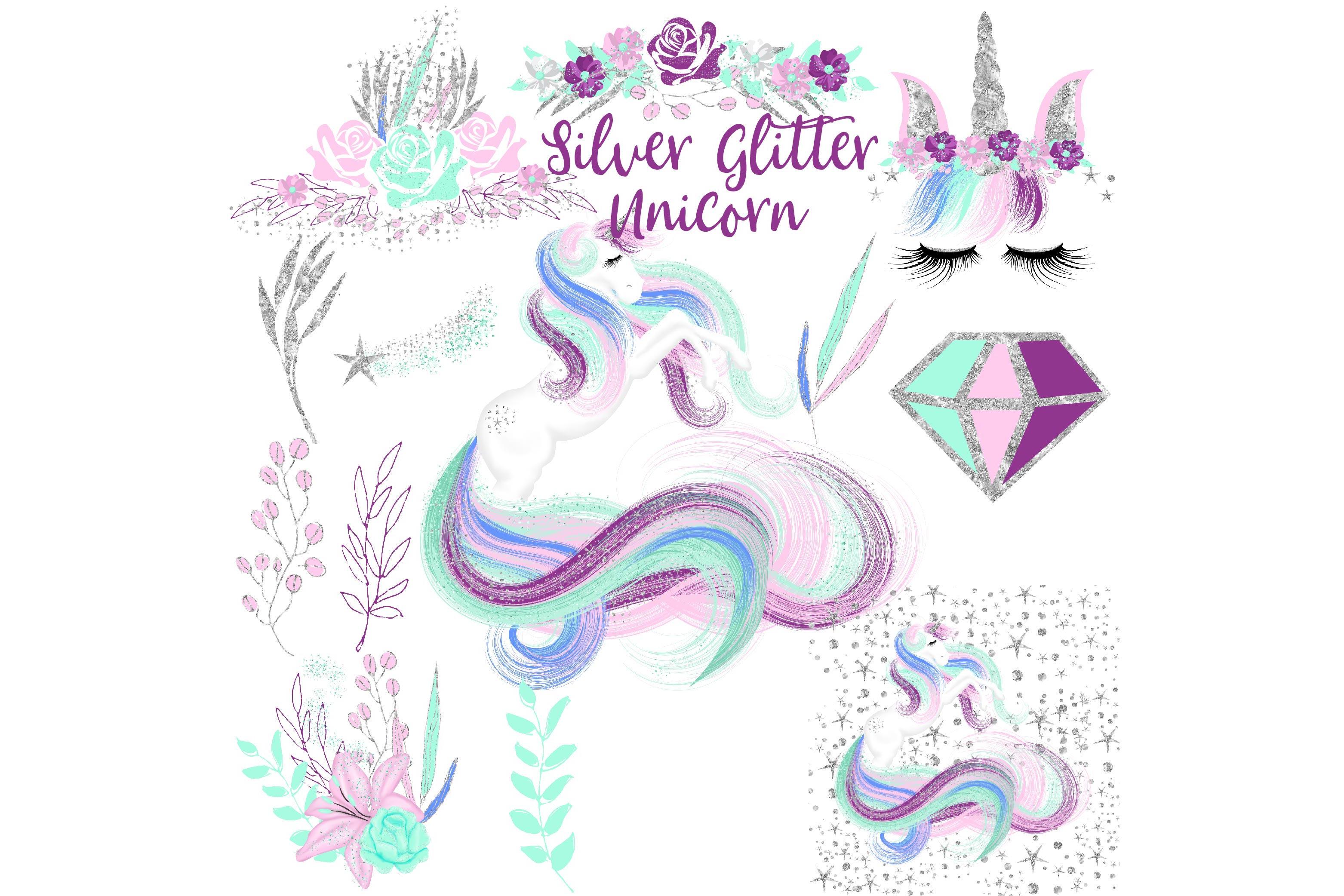 Silver . Clipart unicorn glitter