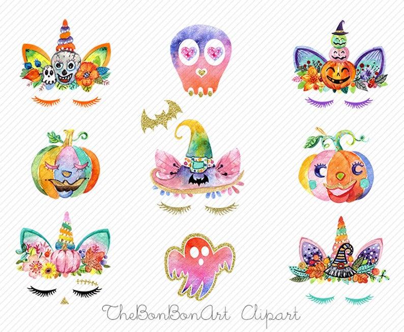 Watercolor pumpkin face unicorns. Clipart unicorn halloween