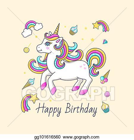 Vector birthday card with. Clipart unicorn happy
