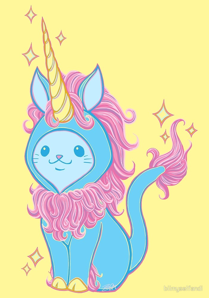 Cat wears raspberry princess. Clipart unicorn light blue