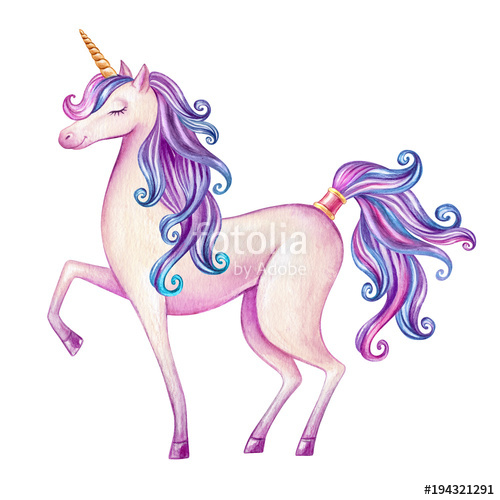 Watercolor pink illustration fairy. Clipart unicorn mythical beast