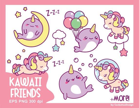 Cute kawaii clip . Clipart unicorn narwhal