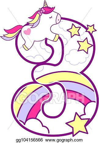 Clipart unicorn number. Vector illustration