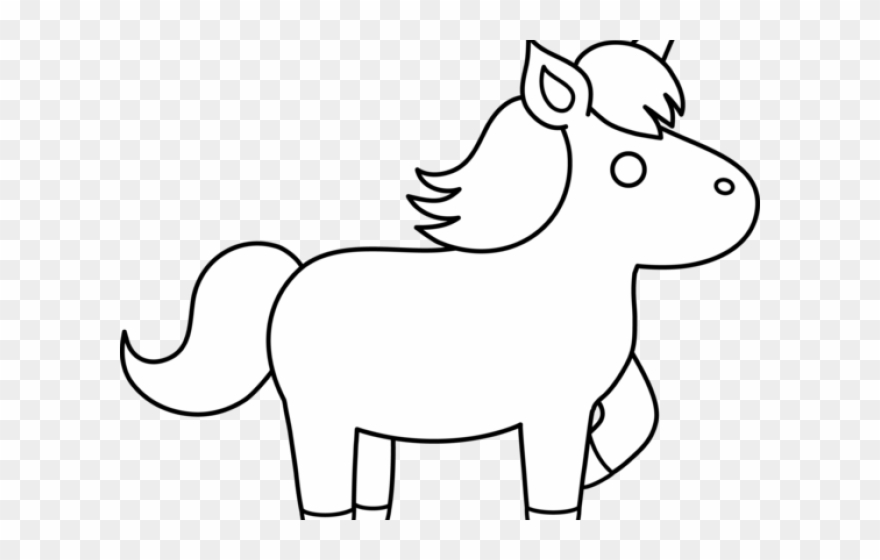Clipart unicorn outline. Black and white simple