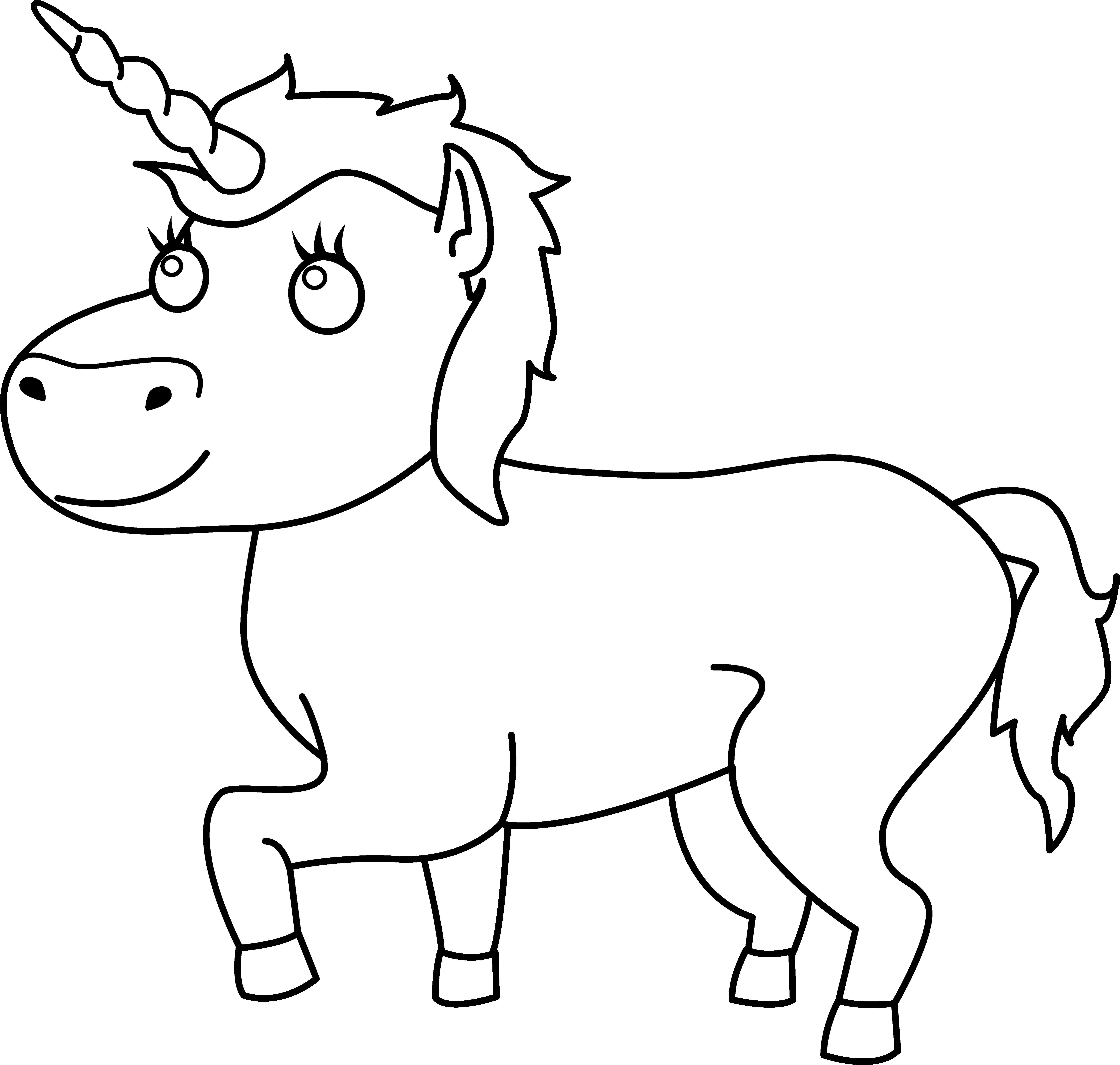 Colorable line art free. Clipart unicorn outline