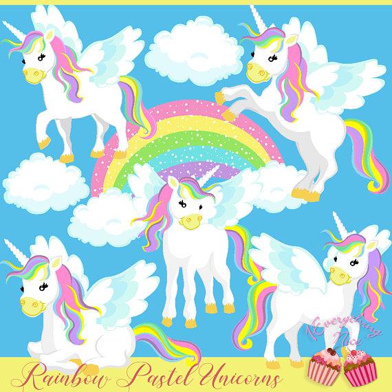Rainbow unicorns set products. Clipart unicorn pastel