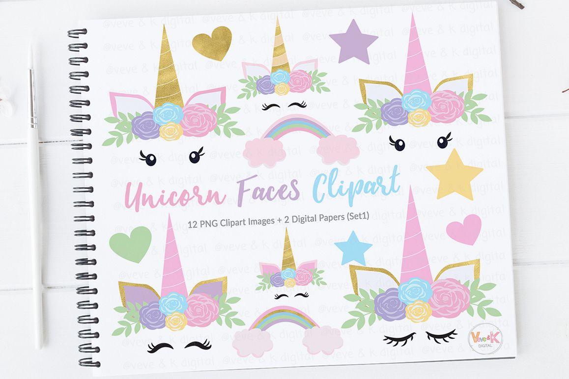 Clipart unicorn pastel. Face unicorns gold glitter
