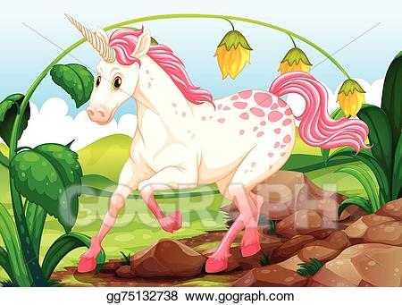 Clipart unicorn scene. Eps illustration vector gg