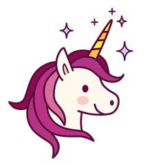 Cute with pink mane. Clipart unicorn simple