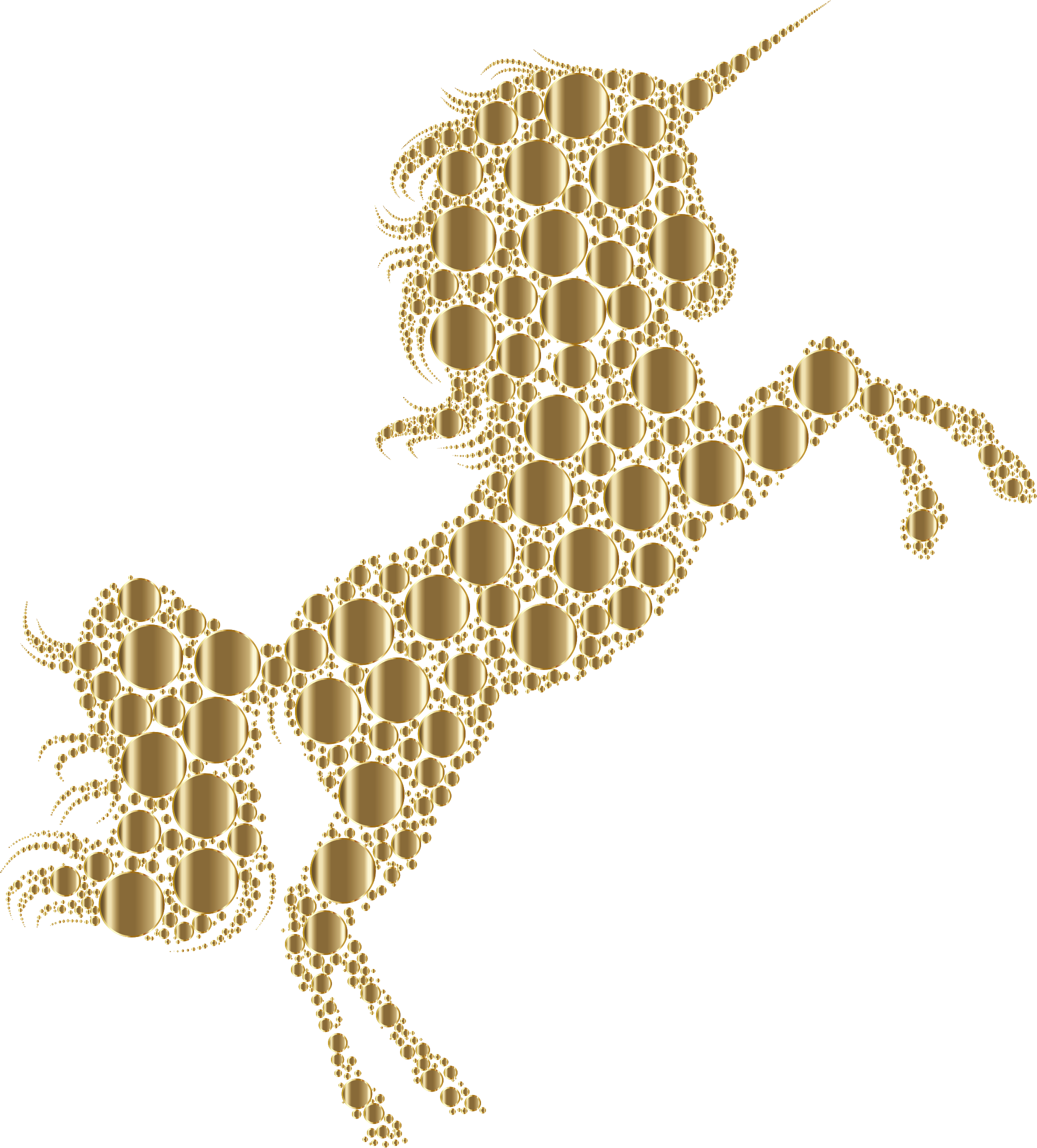 Gold silhouette circles no. Clipart unicorn yellow