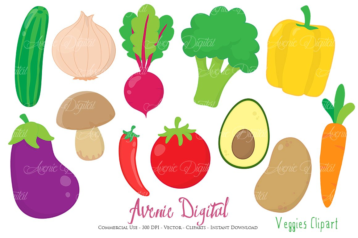 Vectors illustrations creative market. Vegetables clipart