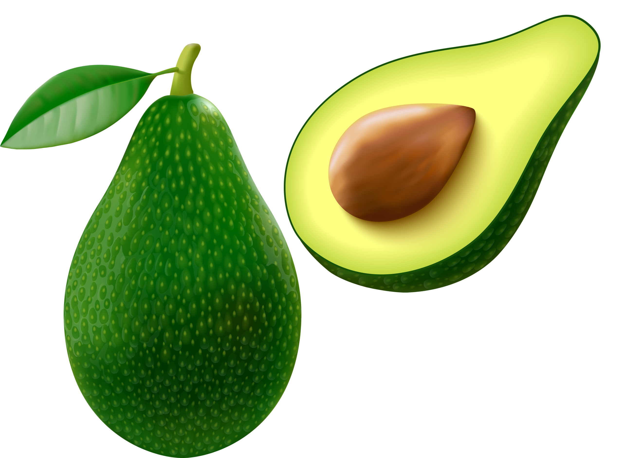 Avocado with slice on. Napkin clipart white fabric